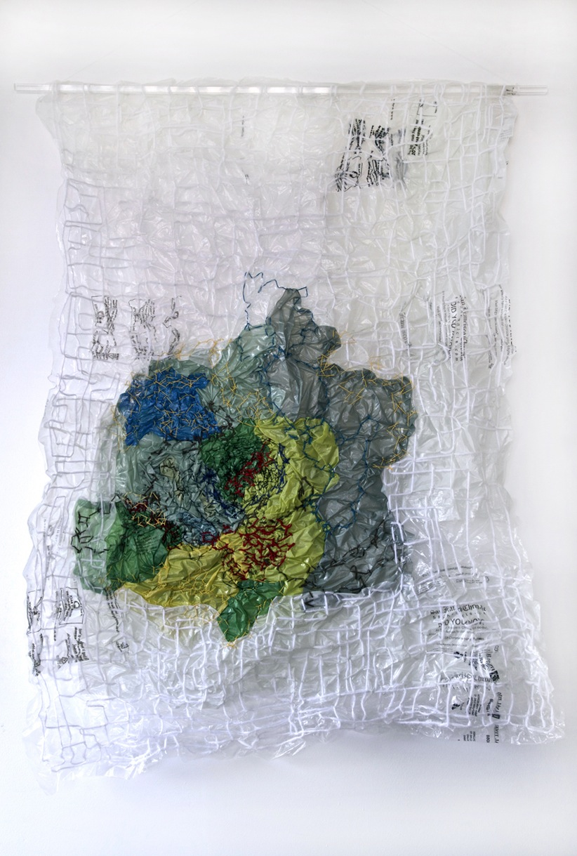 Cotton thread on plastic, 24 x 32 inches, 2016