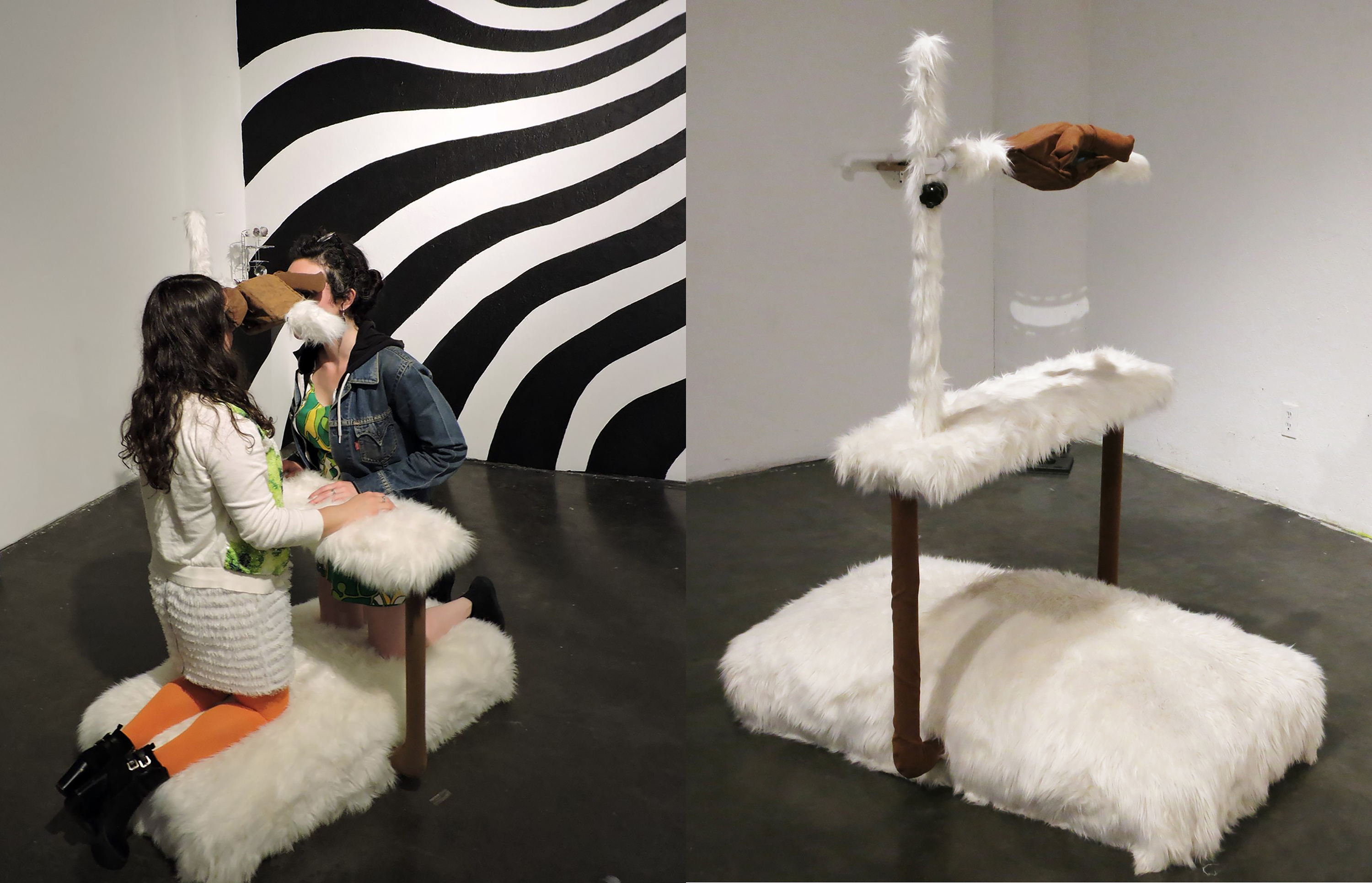 Synthetic  fur,  mirror,  wood,  pvc  pipe  and  pivot  ball,  fabric,  cotton  batting,  polyester  fiberfill,  cymbal  stand  wind  metal  knot,  2016