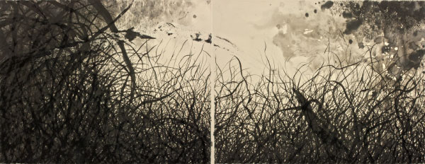 Sumi ink on paper, 17 x 44 inches, 2009