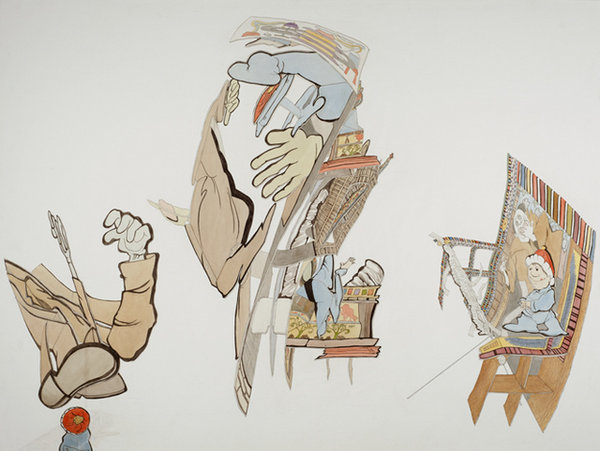 Watercolor, gouache, and colored pencil on paper stretched over wood panel, 36 x 48 inches, 2011