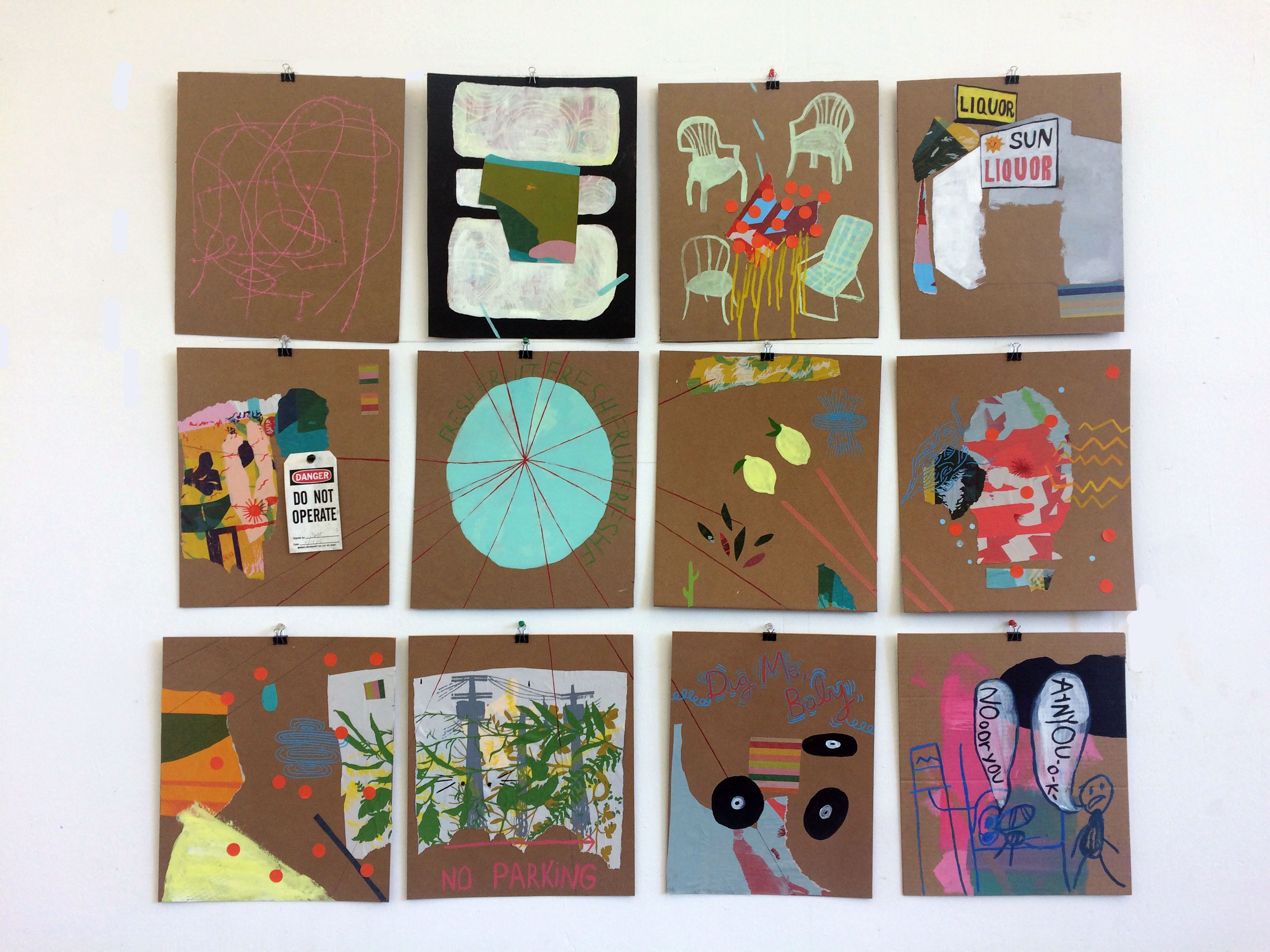 """2017 Acrylic and paper on cardboard 3 ft """" 4 ft."""