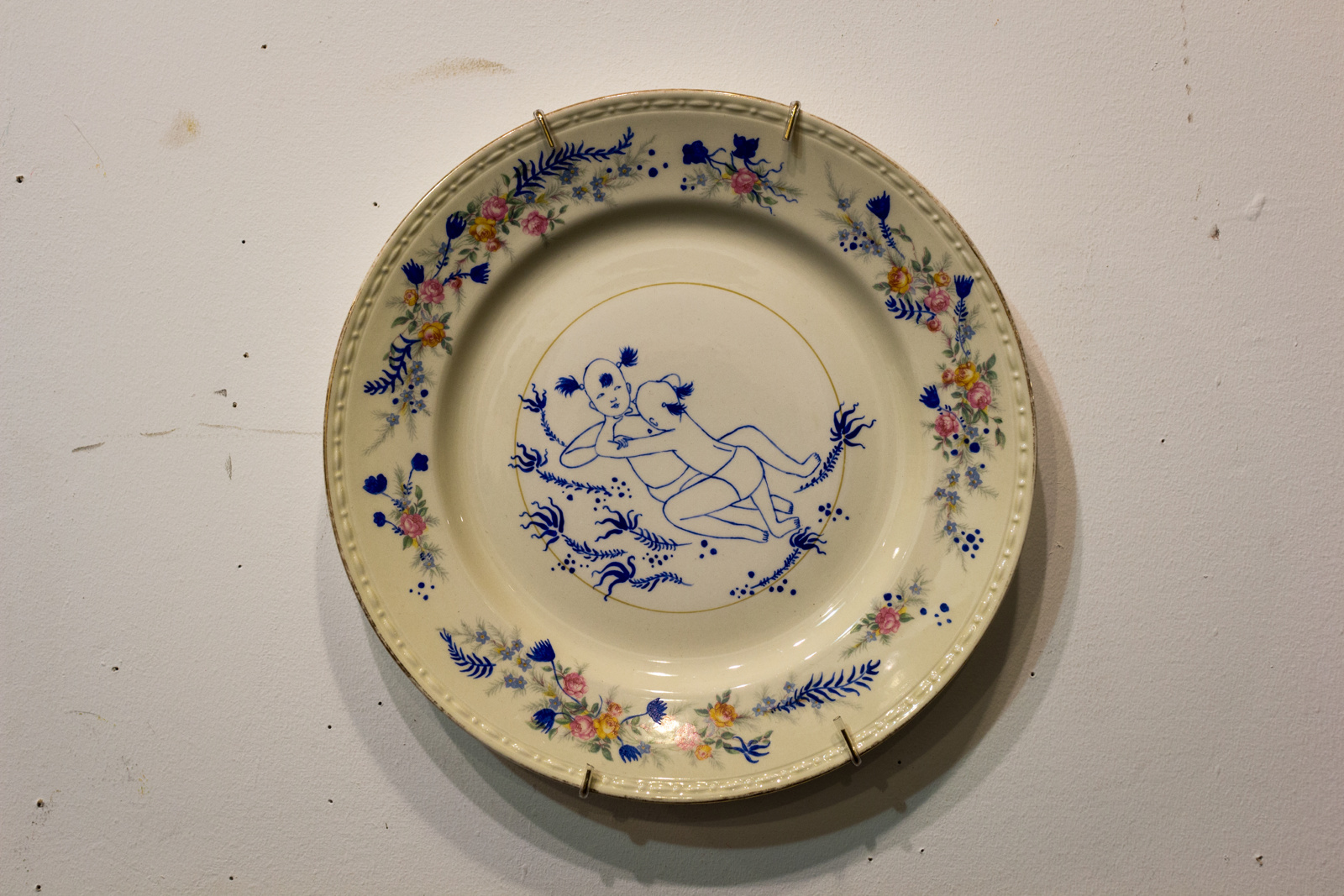 China painting on found plate, 10 x 10 inches, 2014