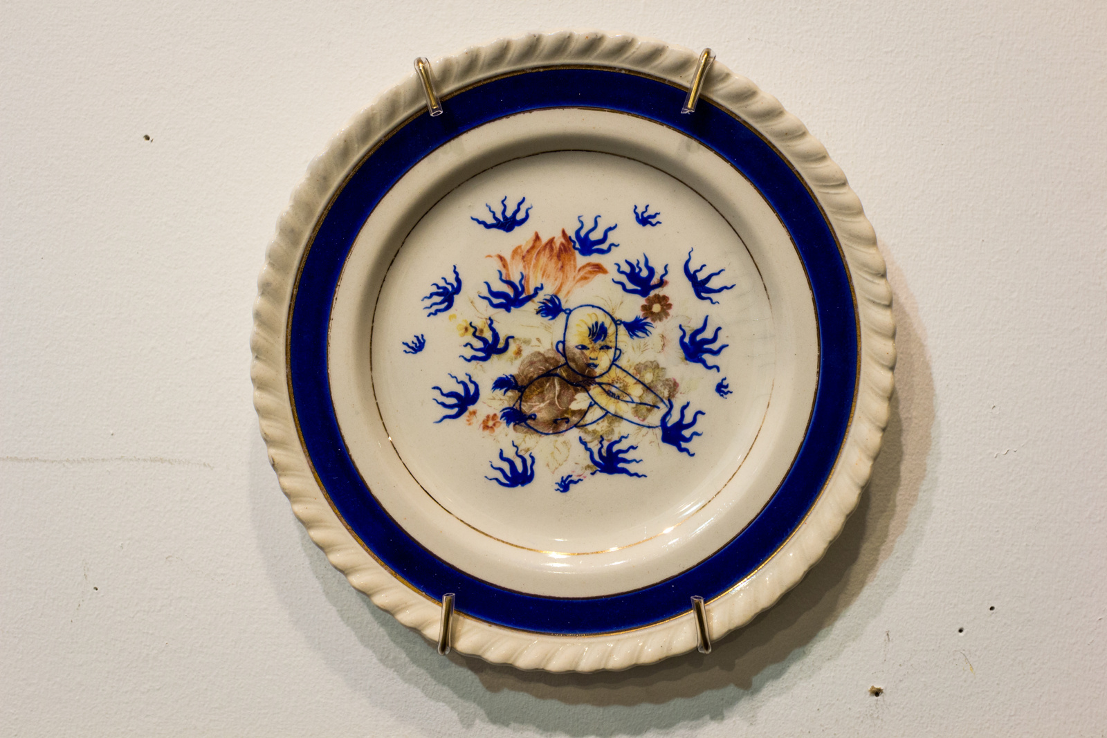 China painting on found plate, 6.25 x 6.25 inches, 2013