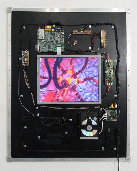 Digital model, DVD player, LCD screen, wood, aluminum, 42 x 30 x 2 inches, 2007