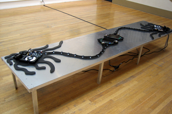 Digital model, aluminum, PVC, DVD players, LCD screens, wires, 18 x 120 x 30, 2007