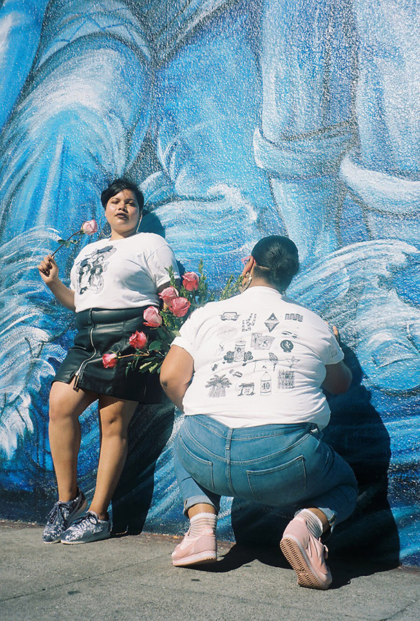 35mm photography of silkscreen on tees, photography credit: Thalia Gochez