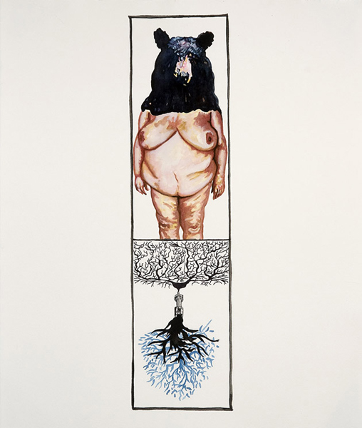 Pen, sumi ink, gouache, and watercolor on Arches paper, 17.25 x 14.75 inches, 2008