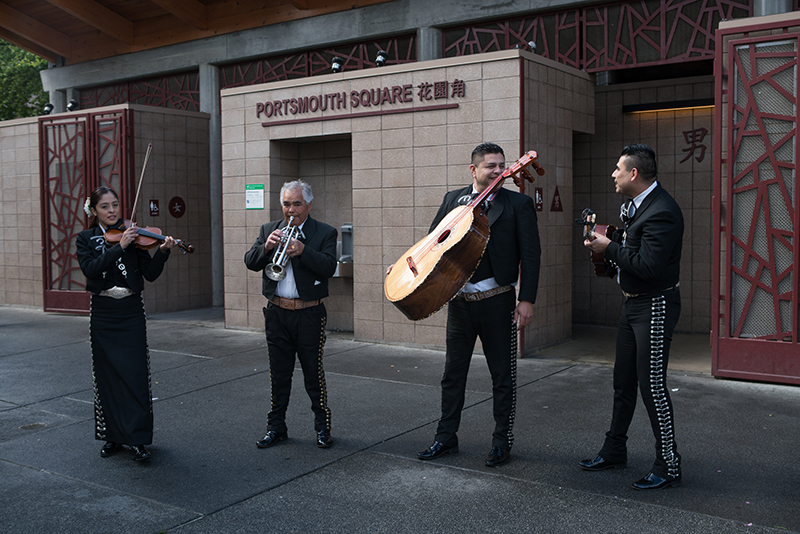 Perla Acedes, Alex Chavez, Juan Mendez, and Francisco Rivera from Mariachi San Francisco, assorted bureaucratic documents and photographs, Portsmouth Square Park, Chinatown, San Francisco, CA