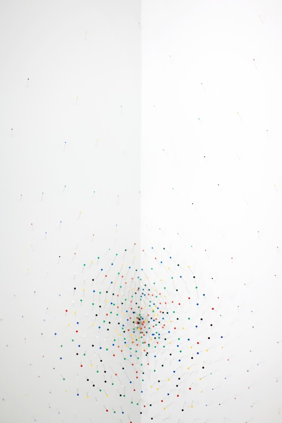 Site specific surface intervention, color head pins on wall, dimension varies, 2009