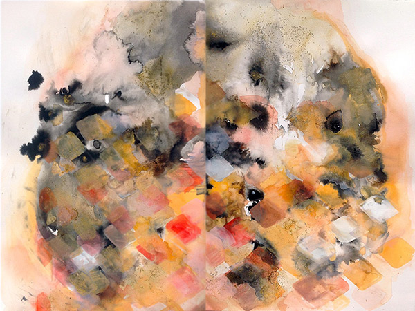 Ink, watercolor, gouache, acrylic and glitter on pape, 36 x 48 inches (diptych), 2014.