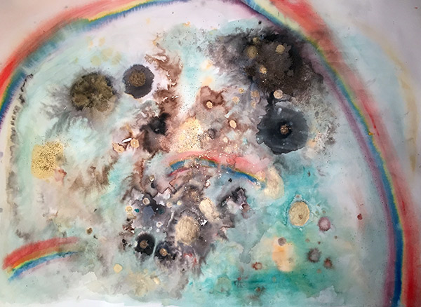 Ink, watercolor, gouache, acrylic and glitter on paper, 36 x 48 inches, 2014.