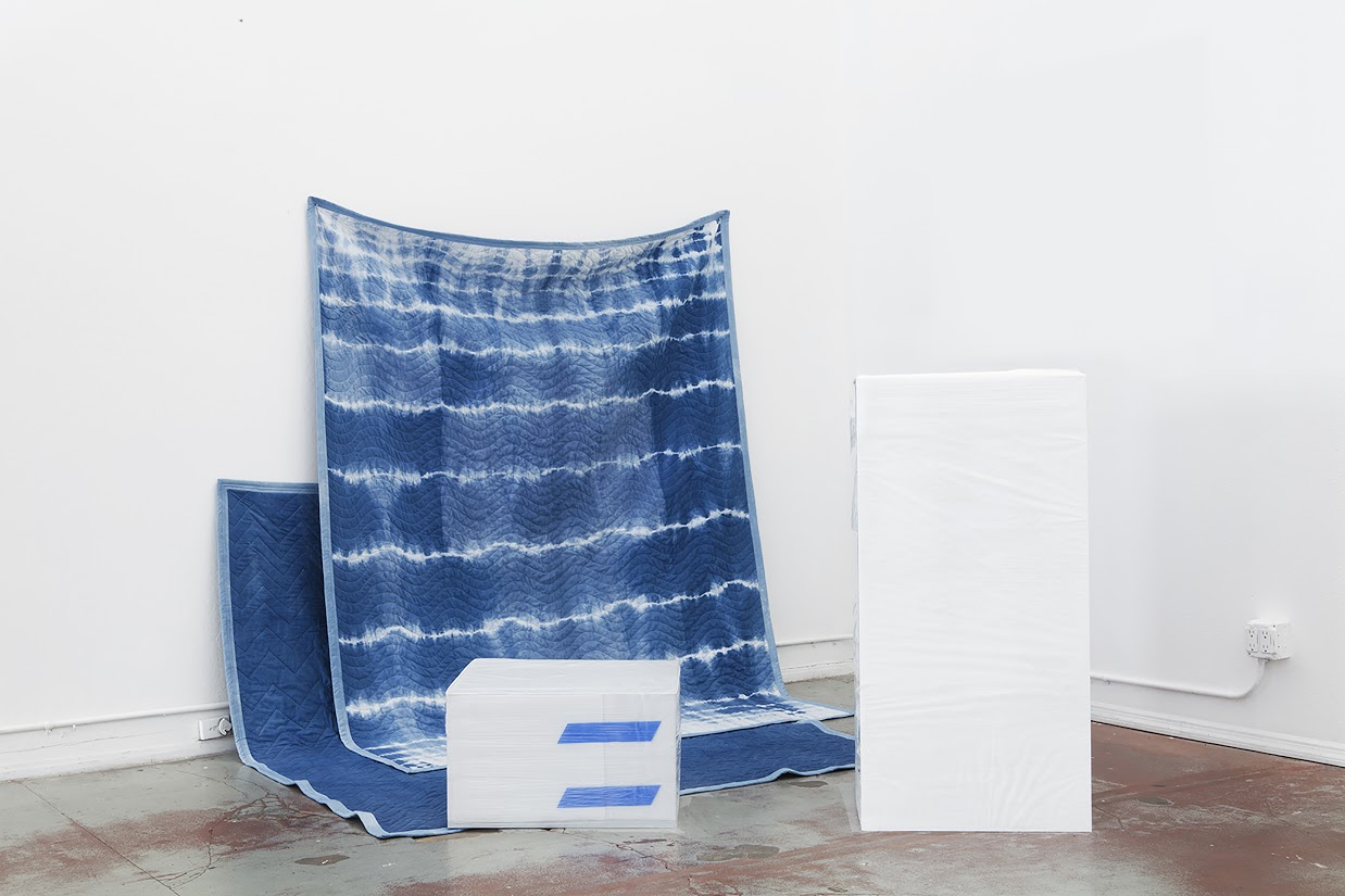 Custom moving blankets, pedestal, vitrine, packing indigo dyed fabric, thread, batting, Untitled (Pedistal & Vitrine), packaging materials, 76in x 87in x 68in, 2013