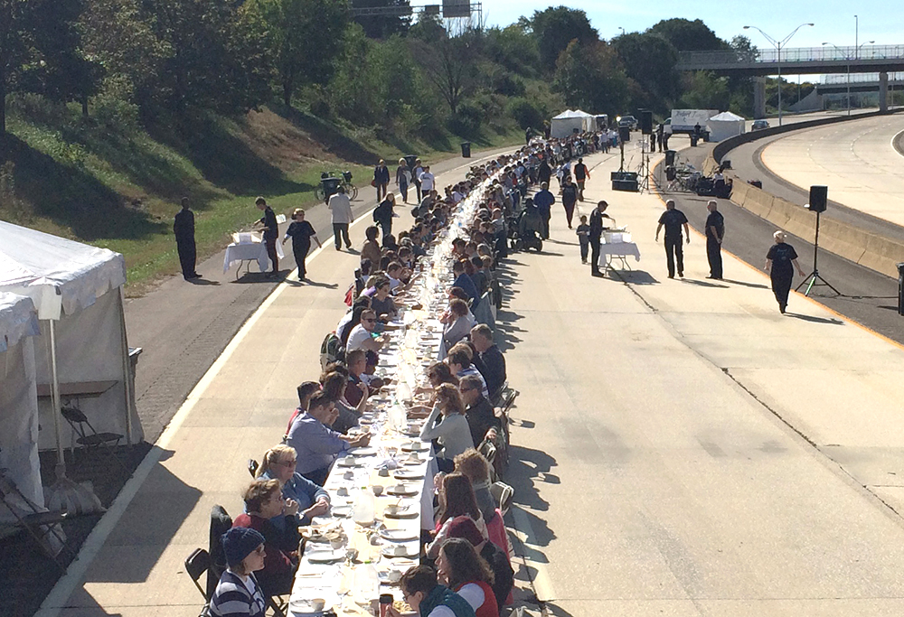 Community meal for 500 Akron, OH residents to reimagine a freeway, Documentation, 2015