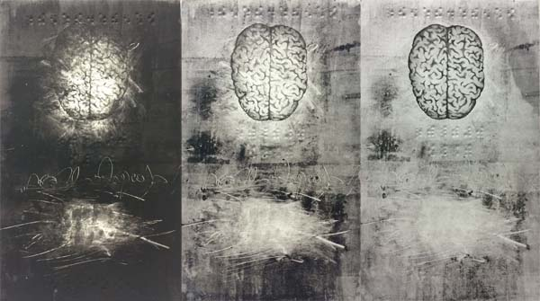 Collograph, etching, embossed monoprint on paper, 24 x 72 inches, 2014