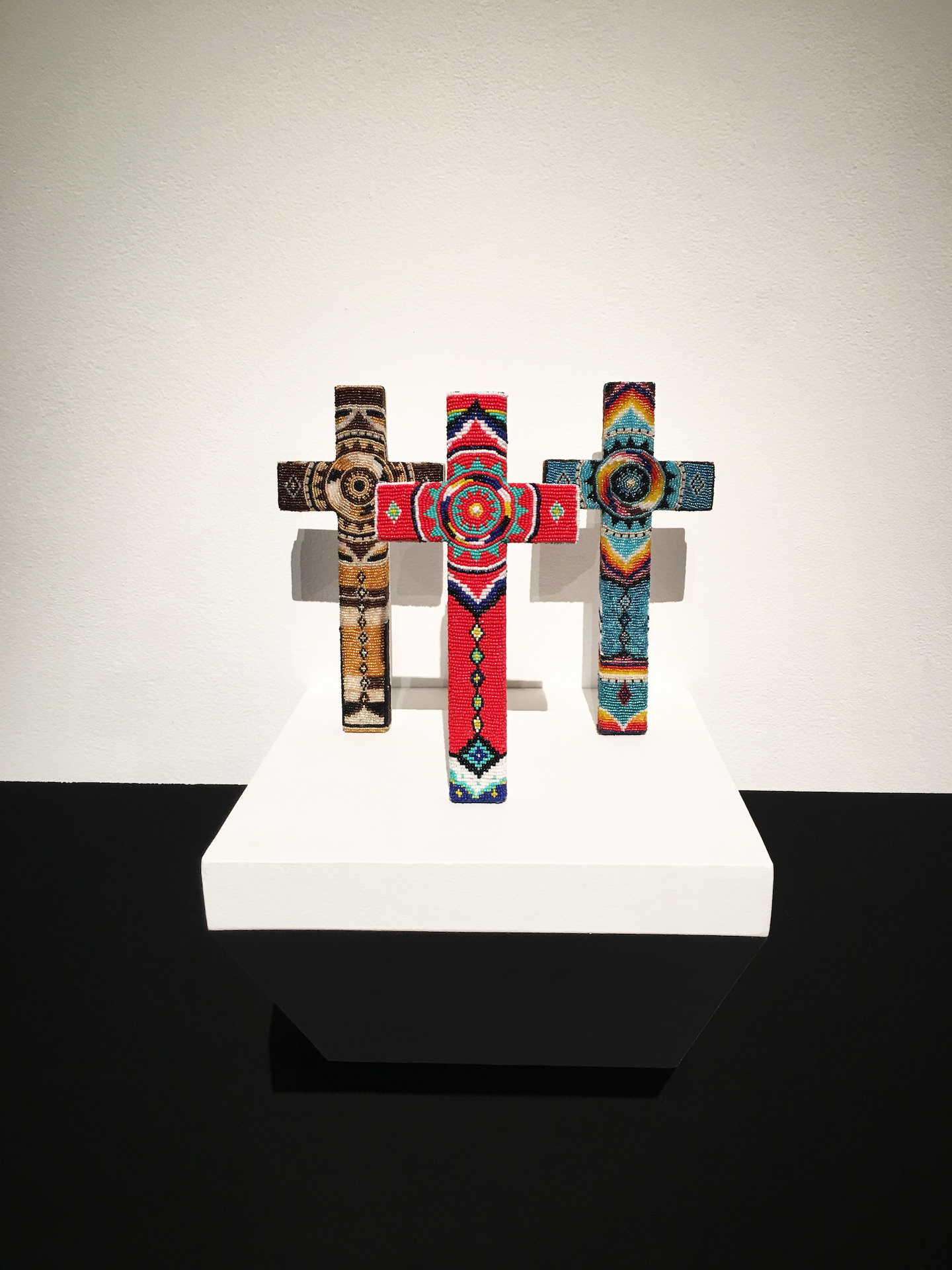 Wood, Glass Beads, and Glue. 1 ft x 6 inch (each cross). 2019.