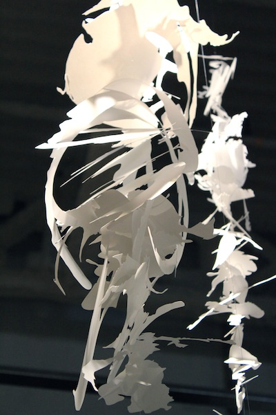 Cut-out pieces from the Paper Stroke series are suspended in air, 5 x 7 feet, 2015