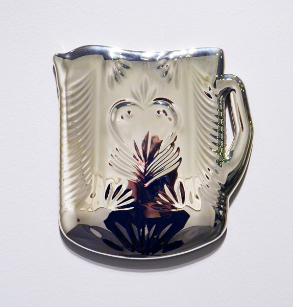 Lead crystal beverage pitcher, melted and mirrored (silver nitrate), 9.75 x 125 x 0.5 inches, 2015