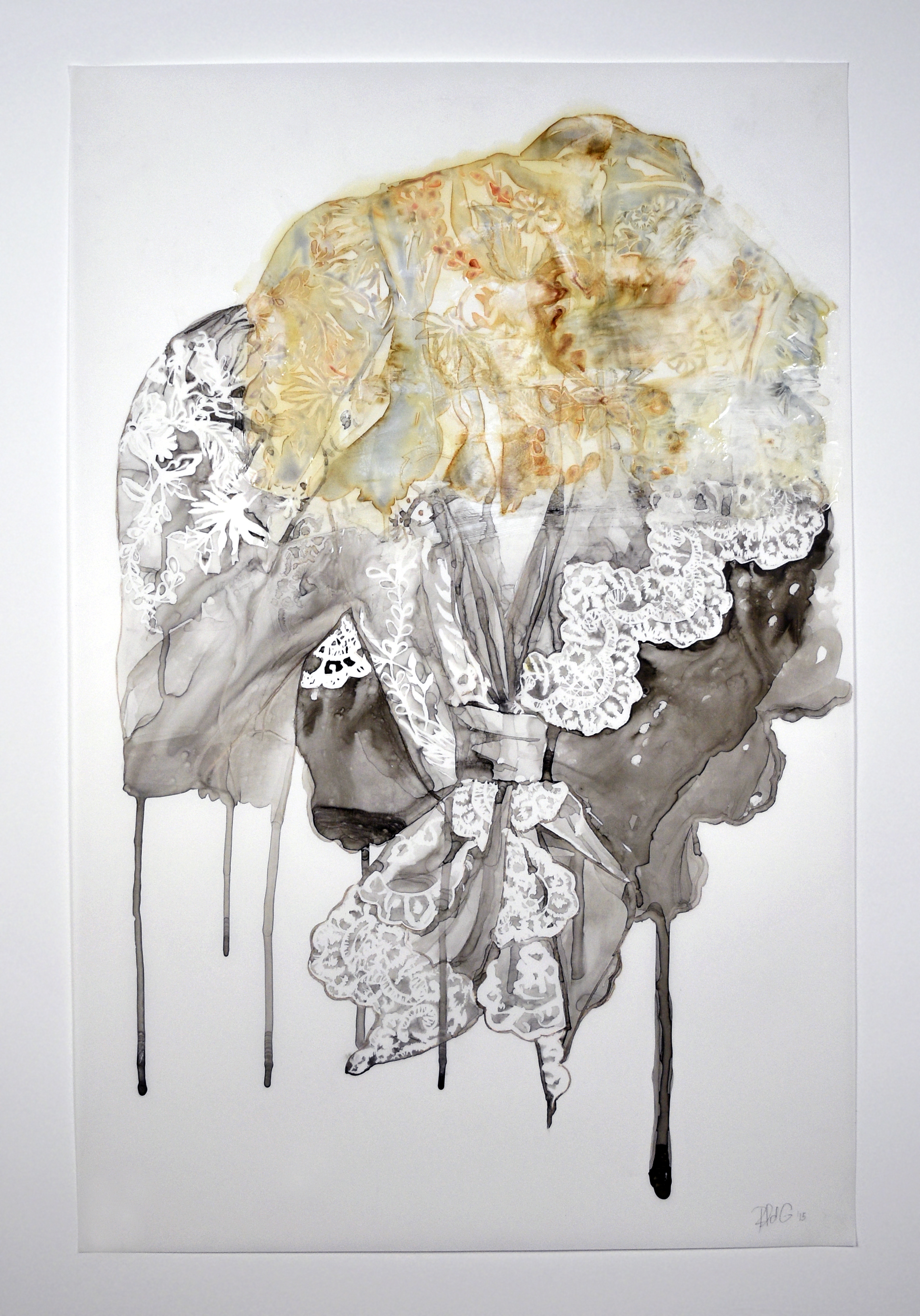 Monoprint, sumi ink, and acrylic medium on Yupo paper, 35 x 23 inches, 2015