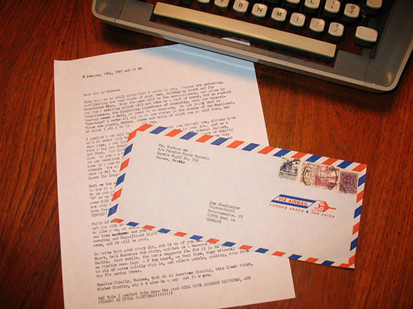 Typed letters on vintage stationary, delivered but not yet received, 2009 and ongoing