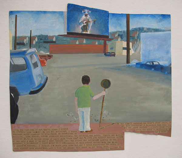 Ex-voto, oil on metal, following performance, 11 x 14 inches, 2007-2009