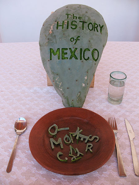 Cactus pad carved with pocketknife in Oaxaca, Mexico, 2009 and ongoing