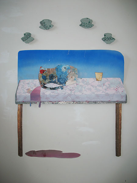 Grouped objects, oil on cut, found metal, 40 x 60 inches, 2010