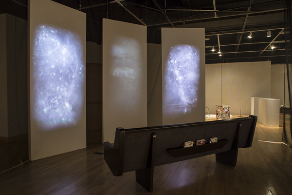 Three chanel video, audio, church pew within screened off area, sizes varies, 2015