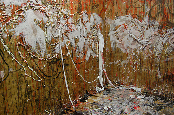 Brown paper, clay slip, red and black ink, expanding foam, fabric, and clay slip, 16 x 8 x 7 feet, 2011