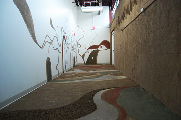 Dirt installation, oxides, and small rocks, 8 x 10 x 39 feet, 2013