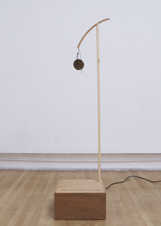 Wood, wind chime base, fan, 68 x 17 x 10 inches, 2015