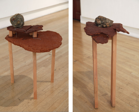 Wood, wood dust, wood glue, dinosaur coprolite, steel, Table on the left: 29 x 19 x 22 inches. Table on the right: 26 x 14 x 13 inches, 2015
