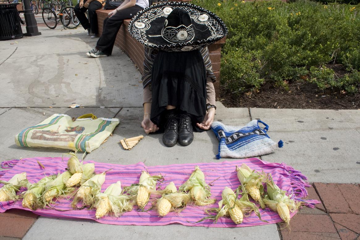 """Body, corn, Frida bag, rebozo, sombrero de Charro,  2 hr. """"still life"""", 2008"""